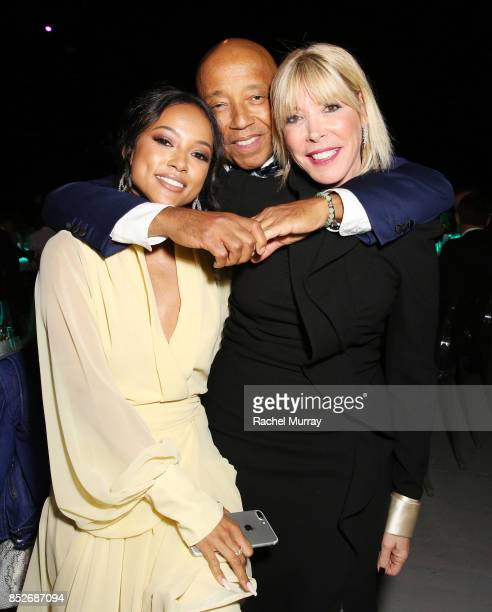 Karrueche Tran Russell Simmons and EMA president Debbie Levin at the Environmental Media Association's 27th Annual EMA Awards at Barkar Hangar on...