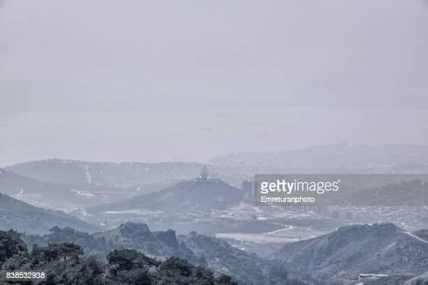 karsiyaka shores and izmir bay view from yamanlar mountain. - emreturanphoto stock pictures, royalty-free photos & images