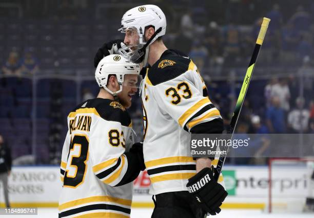 Karson Kuhlman and Zdeno Chara of the Boston Bruins celebrate their teams 51 win over the St Louis Blues in Game Six of the 2019 NHL Stanley Cup...