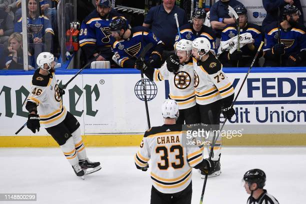 Karson Kuhlman of the Boston Bruins is congratulated by teammates after scoring a goal against the St Louis Blues in Game Six of the 2019 NHL Stanley...