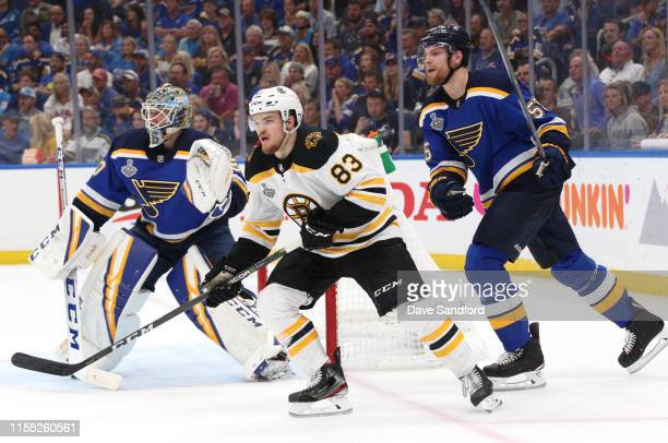 Karson Kuhlman of the Boston Bruins plays against Jordan Binnington and Colton Parayko during the second period of Game Six of the 2019 NHL Stanley...