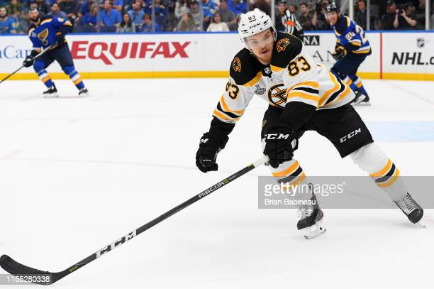 Karson Kuhlman of the Boston Bruins plays against the St Louis Blues during Game Six of the 2019 NHL Stanley Cup Final at Enterprise Center on June...