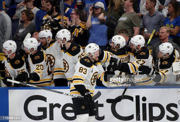 Karson Kuhlman of the Boston Bruins skates by the Bruins bench to celebrate his goal during the third period of Game Six of the 2019 NHL Stanley Cup...