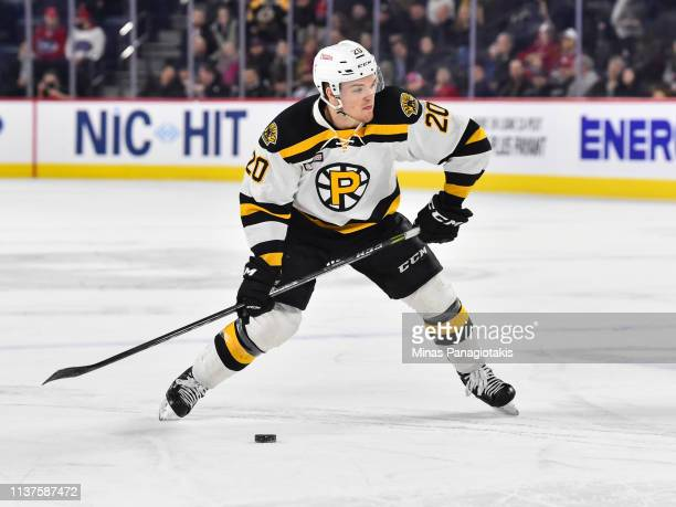 Karson Kuhlman of the Providence Bruins looks to shoot the puck against the Laval Rocket during the AHL game at Place Bell on March 20 2019 in Laval...