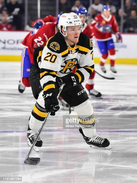 Karson Kuhlman of the Providence Bruins skates against the Laval Rocket during the AHL game at Place Bell on March 20 2019 in Laval Quebec Canada The...