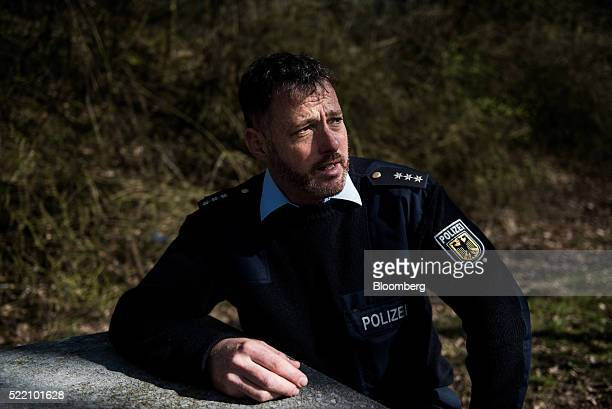 Karsten Eberhardt a German police commissioner speaks during an interview at a control point in Passau Germany on Tuesday March 29 2016 A permanent...