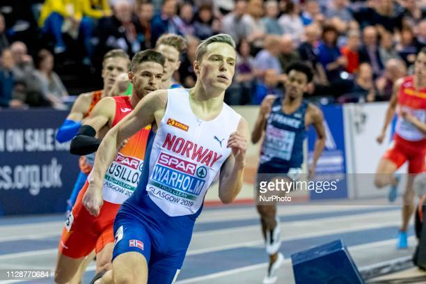 Karsten NOR competing in the 400m Men Final event during day TWO of the European Athletics Indoor Championships 2019 at Emirates Arena in Glasgow...