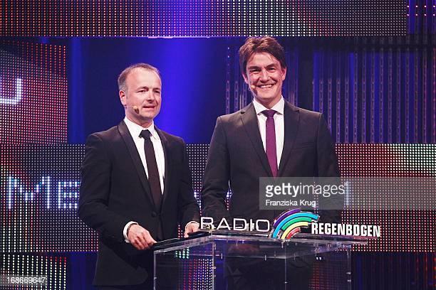 Karsten Schwanke And Matze Knop as presenters at the ceremony Of Radio Regenbogen Award In The Black Forest hall in Karlsruhe