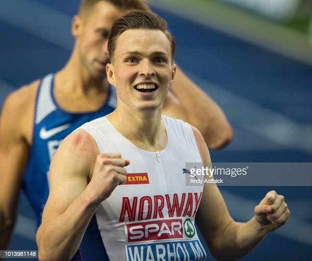 Karsten Warholm from Norway during the Men's 400m Hurdles Final on Day 3 of the European Athletics Championships at Olympiastadion on August 9 2018...