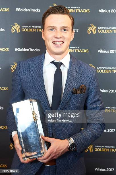 Karsten Warholm from Norway Male Rising Star winner smiles and poses with his trophy while Golden Tracks Gala on October 14 2017 in Vilnius Lithuania