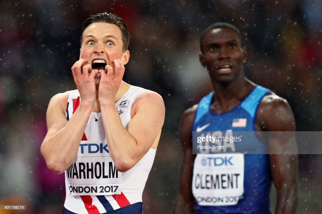 Karsten Warholm of Norway (first place) and Kerron Clement of the United States react after crossing the finish line in the Men's 400 metres hurdles during day six of the 16th IAAF World Athletics Championships London 2017 at The London Stadium on August 9, 2017 in London, United Kingdom.