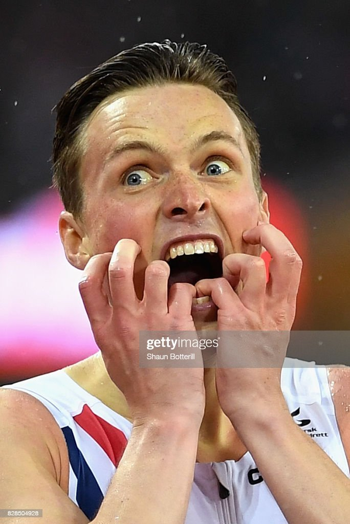 Karsten Warholm of Norway celebrates after winning gold in the Men's 400 metres hurdles final during day six of the 16th IAAF World Athletics Championships London 2017 at The London Stadium on August 9, 2017 in London, United Kingdom.