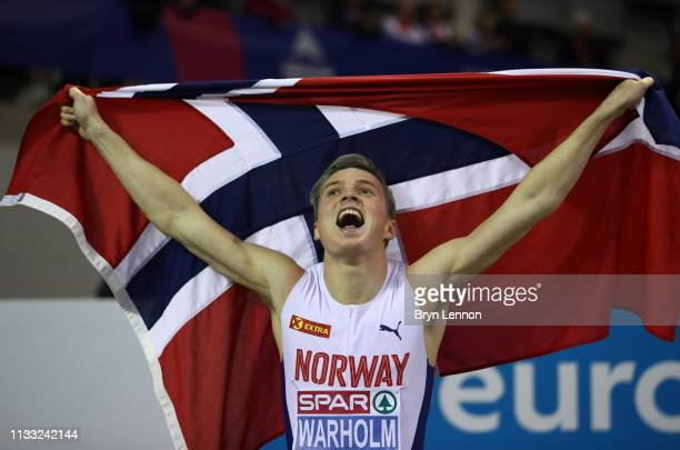 Karsten Warholm of Norway celebrates after winning the Mens 400m Final during the 2019 European Athletics Indoor Championships Day Two at the...