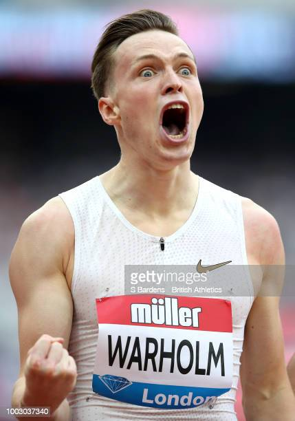 Karsten Warholm of Norway celebrates victory following the Men's 400m Hurdles race during Day One of the Muller Anniversary Games at London Stadium...