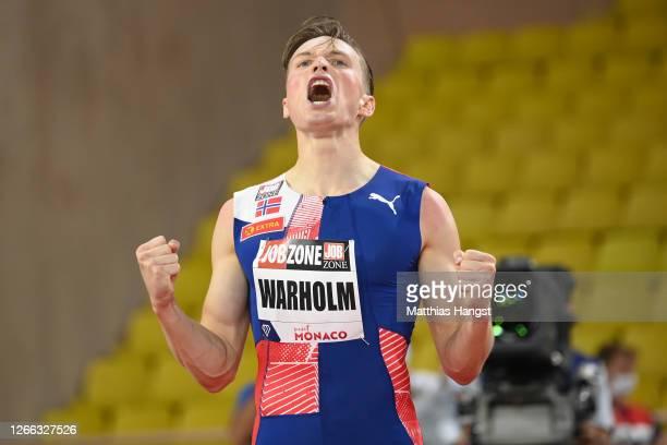 Karsten Warholm of Norway celebrates victory in the Men's 400 metres Hurdles during the Herculis EBS Monaco 2020 Diamond League meeting at Stade...