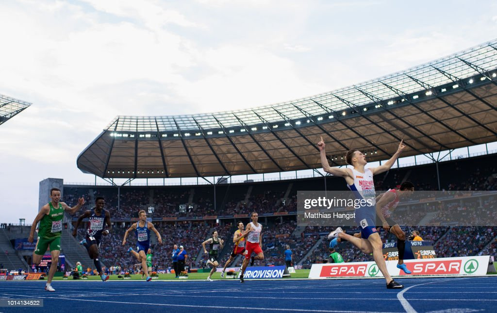 Karsten Warholm of Norway celebrates winning Gold in the Men's 400m Hurdles Final during day three of the 24th European Athletics Championships at Olympiastadion on August 9, 2018 in Berlin, Germany. This event forms part of the first multi-sport European Championships.