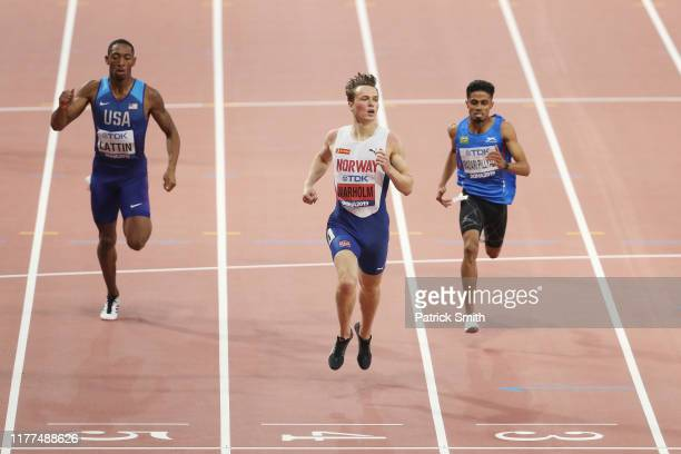 Karsten Warholm of Norway competes in the Men's 400 metres hurdles heats during day one of 17th IAAF World Athletics Championships Doha 2019 at...