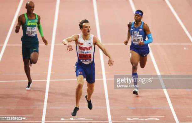Karsten Warholm of Norway competes in the Men's 400 metres hurdles final during day four of 17th IAAF World Athletics Championships Doha 2019 at...