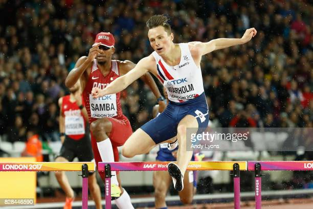 Karsten Warholm of Norway competes in the Men's 400 metres hurdles during day six of the 16th IAAF World Athletics Championships London 2017 at The...