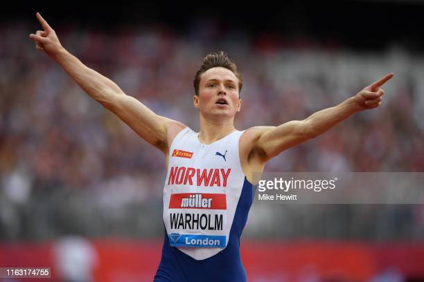 Karsten Warholm of Norway crosses the line to win the Men's 400m Hurdles during Day One of the Muller Anniversary Games IAAF Diamond League event at...