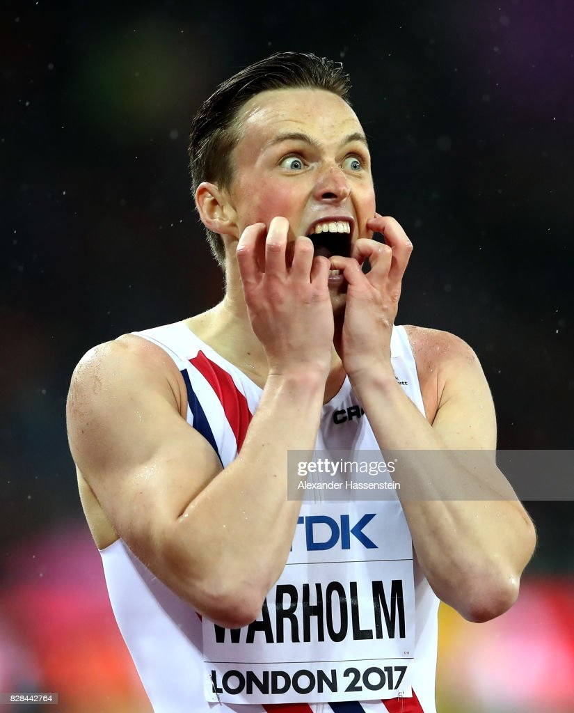 Karsten Warholm of Norway reacts after winning gold in the Men's 400 metres hurdles final during day six of the 16th IAAF World Athletics Championships London 2017 at The London Stadium on August 9, 2017 in London, United Kingdom.