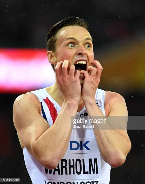 Karsten Warholm of Norway reacts after winning gold in the Men's 400 metres hurdles final during day six of the 16th IAAF World Athletics...