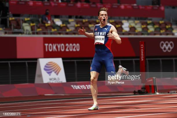 Karsten Warholm of Team Norway reacts after winning the gold medal in the Men's 400m Hurdles Final on day eleven of the Tokyo 2020 Olympic Games at...