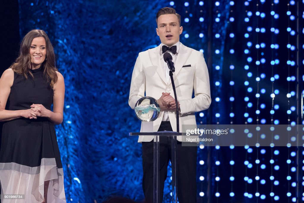 Karsten Warholm receives the award from Kristine Riis during the Sport Gala Awards at Olympic Amphitheater on January 6, 2018 in Hamar, Norway.