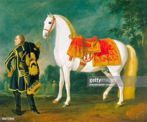 Karstian dapple-grey horse with splendid saddle, guided by an imperial groom. Painting by Johann Georg von Hamilton, the landscape is by Johann...