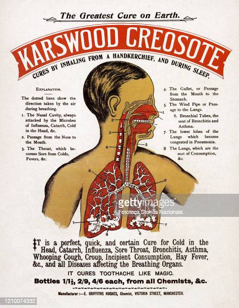 Karswood Creosote cures by inhaling from a handkerchief and during sleep It is a perfect quick and certain cure for Cold in the Head Catarrh...