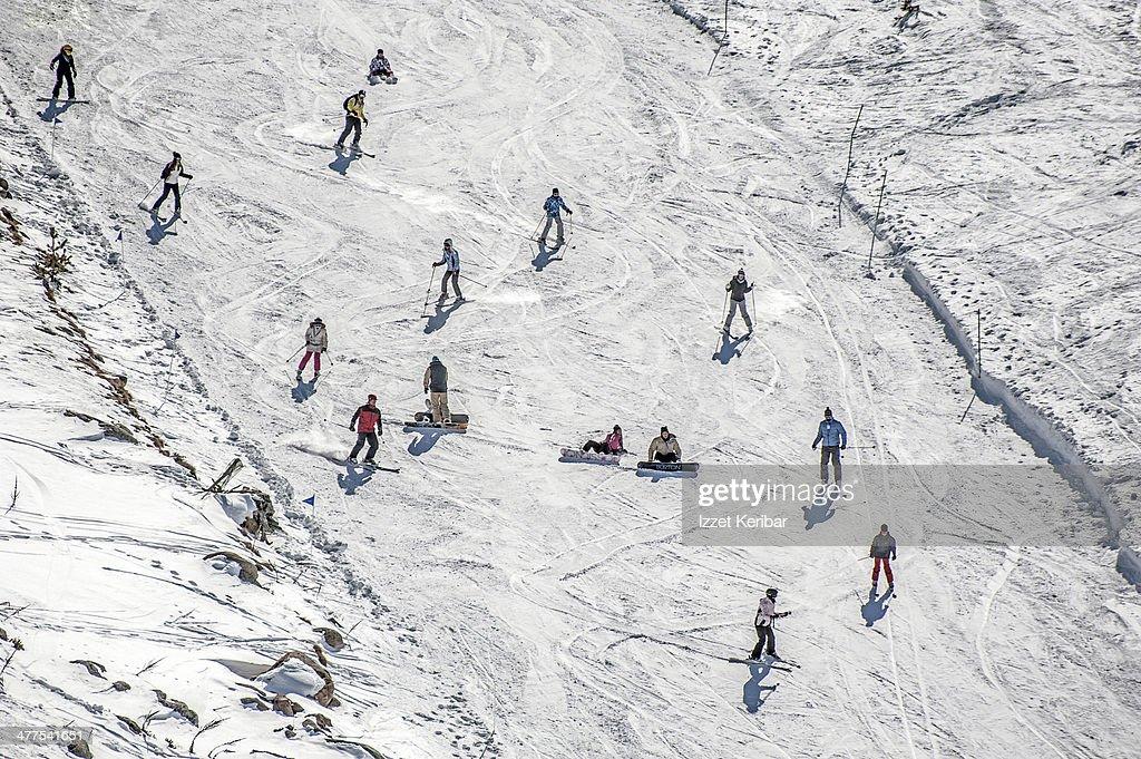 Kartalkaya Winter Resort Skiers Stock Photo Getty Images