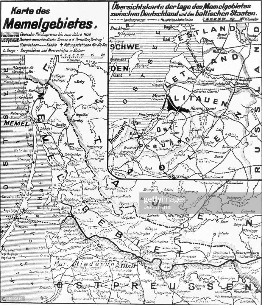 Karte Des Memellandes Mit Der Grenzziehungvor Und Nach Dem Vertrag