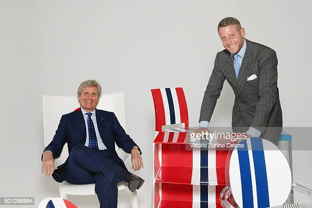 Kartell President Claudio Luti and Lapo Elkann attend a shoot for KartellLapo 'It's A Wrap' Collection at Kartell Headquarters on April 6 2016 in...