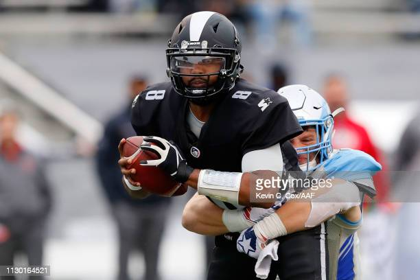 KarterSchult of Salt Lake Stallions sacks Keith Price of Birmingham Iron on a two point conversion attempt during an Alliance of American Football...