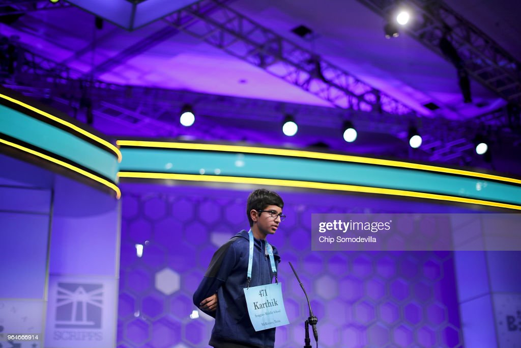 Karthik Nemmani correctly spells the word 'koinonia' to win the 91st Scripps National Spelling Bee at the Gaylord National Resort and Convention Center May 31, 2018 in National Harbor, Maryland. Forty one finalists were selected to participate in the final day after a record 516 spellers were officially invited, up from 291 in 2017 .