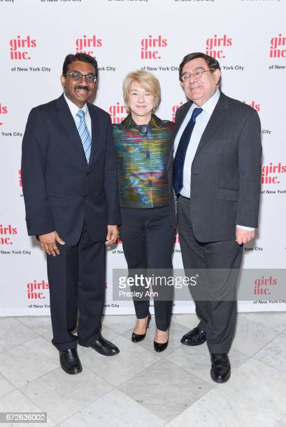 Kartik Swamy Sarah Sally Miller and Hadriam Tucker attend Girls Inc of New York City 2017 Spring Luncheon at The Metropolitan Club on April 24 2017...