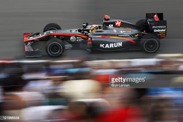 Karun Chandhok of India and Hispania Racing Team drives during practice for the Canadian Formula One Grand Prix at the Circuit Gilles Villeneuve June...