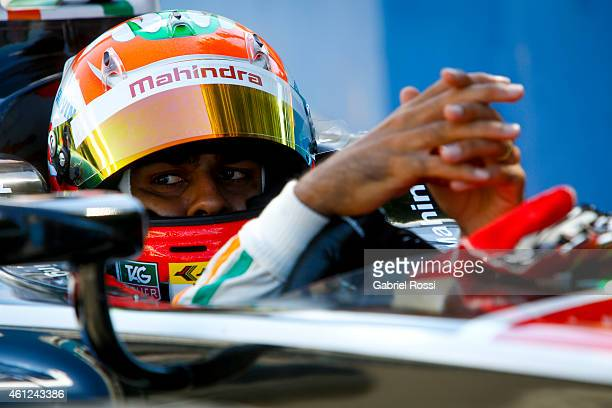 Karun Chandhok of India and Mahindra Racing Formula E Team is seen on his car while waiting for the second lap during the Formula E Cars Complete...