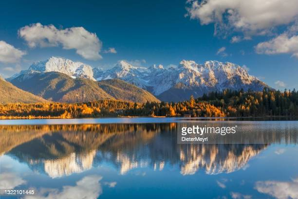 karwendel mountains in bavarian alps - mittenwald stock pictures, royalty-free photos & images
