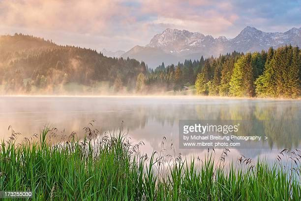 karwendel reflections - mittenwald stock pictures, royalty-free photos & images