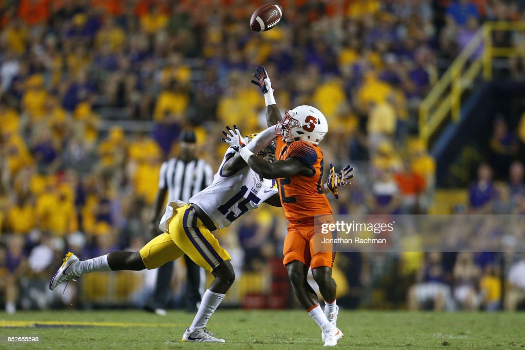 Kary Vincent Jr. #15 of the LSU Tigers breaks up a pass intended for Nykeim Johnson #82 of the Syracuse Orange during the second half of a game at Tiger Stadium on September 23, 2017 in Baton Rouge, Louisiana.