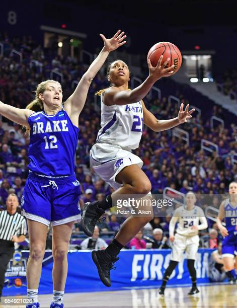 Karyla Middlebrook of the Kansas State Wildcats drives to the basket against the Drake Bulldogs during the first round of the 2017 NCAA Women's...
