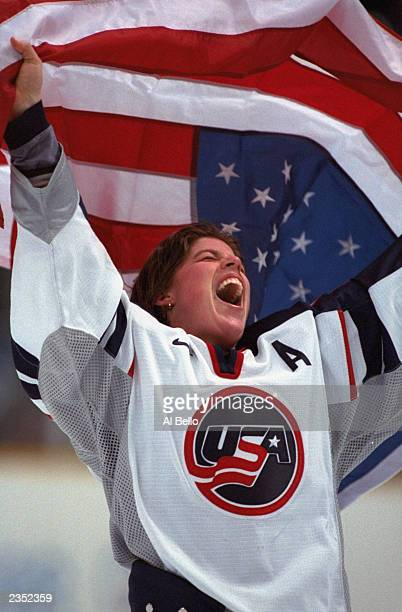 Karyn Bye of the USA celebrates a 31 gold medal win over Canada during the 1998 Winter Olympic Games at the Big Hat Arena on February 17 1998 in...