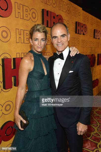 Karyn Kelly and Michael Kelly attend HBO's Post Emmy Awards Reception at The Plaza at the Pacific Design Center on September 17 2017 in Los Angeles...