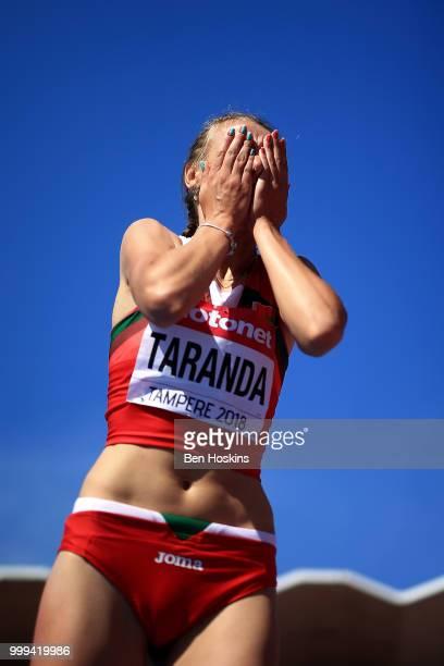 Karyna Taranda of Belarus celebrates winning gold in the final of the women's high jump on day six of The IAAF World U20 Championships on July 15...