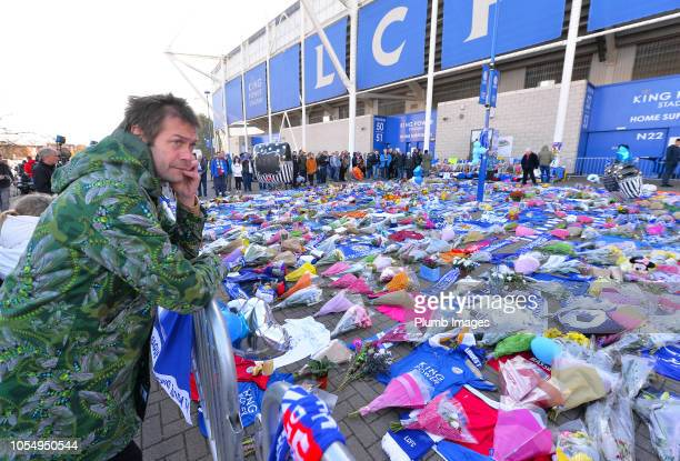 Kasabian frontman Tom Meighan visits the floral tributes outside King Power Stadium to former owner Vichai Srivaddhanaprabha on October 29th 2018 in...