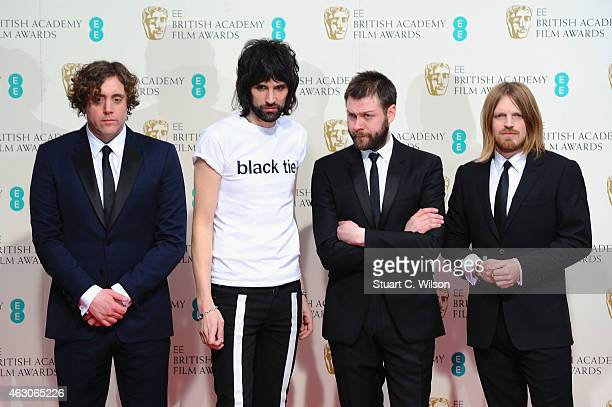 Kasabian poses in the winners room at the EE British Academy Film Awards at The Royal Opera House on February 8 2015 in London England