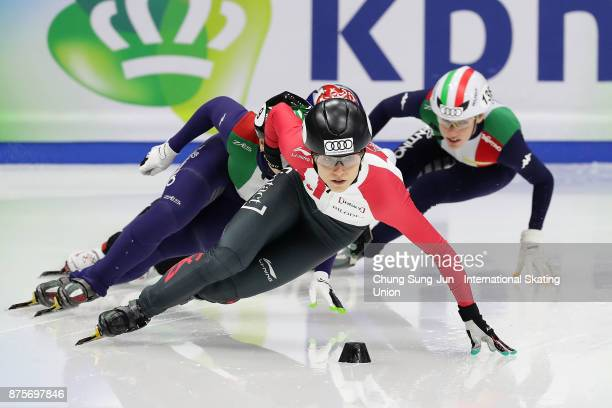 Kasandra Bradette of Canada competes in the Ladies 500m Semifinals during the Audi ISU World Cup Short Track Speed Skating at Mokdong Ice Rink on...