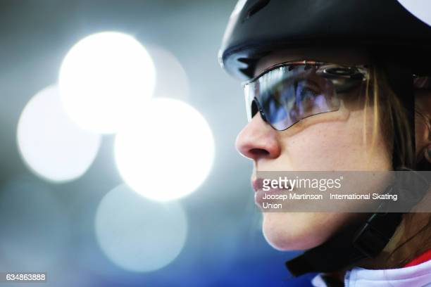 Kasandra Bradette of Canada prepares prior to the Ladies 500m quarter final during day two of the ISU World Cup Short Track at Minsk Arena on...