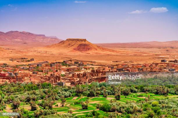 kasbah and village in morocco north africa - morocco stock pictures, royalty-free photos & images